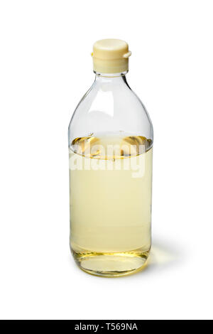 Bottle with traditional Japanese rice vinegarisolated on white background - Stock Image