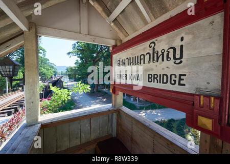 Old waiting gazibo of the Siam-Burma Railway over River Kwai in Kanchanaburi, Thailand. The infamous River Kwai bridge has become a tourist destinatio - Stock Image