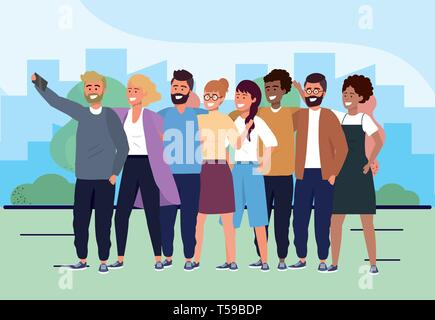 women and men friends with casual clothes and smartphone vector illustration - Stock Image