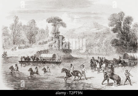 The last days of the Confederate Government, the conclusion of the American Civil War.  President Davis' mule train crossing the Pe-Dee river in North Carolina whilst fleeing before the Federal Cavalry.  From The Illustrated London News, published 1865. - Stock Image