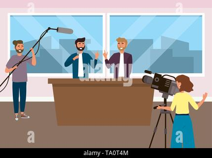 Broadcasting reportage design, News media communication journalism information and digital theme Vector illustration - Stock Image