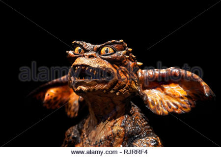 Gremlin creature seen in Gremlins 2: The New Batch, comedy horror movie Directed by Joe Dante and Chuck Jones in 1990 - Stock Image