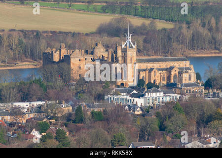 View of Linlithgow Palace in Linlithgow , West Lothian, Scotland, UK - Stock Image