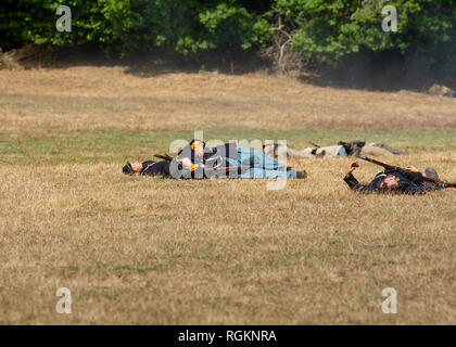 Duncan Mills, CA - July 14, 2018: Wounded union soldiers at a Northern California's Civil war reenactment. The Civil War Days is one of the largest re - Stock Image