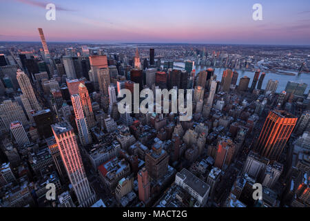 Aerial view of Midtown Manhattan skyscrapers at Sunset, Murray Hill, New York City - Stock Image