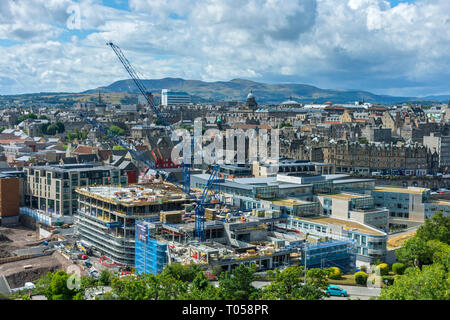 Edinburgh and the Pentland Hills, from Calton Hill, Scotland, UK - Stock Image