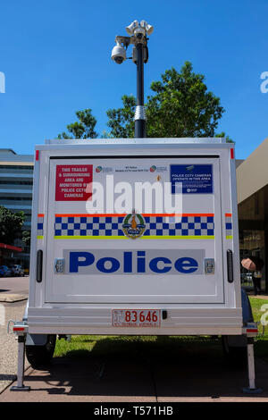 Police mobile CCTV trailer in a street of Darwin city in the Northern Territory of Australia. - Stock Image