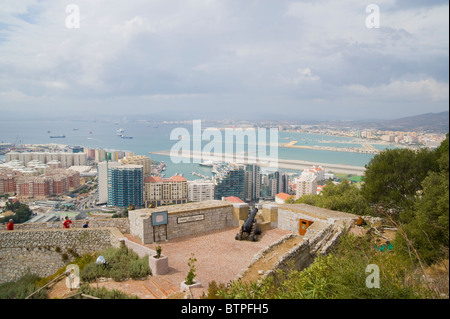 Gibraltar port and airport viewed from the castle - Stock Image