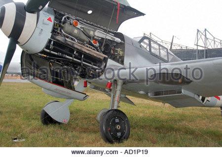 Zeltweg 2005 AirPower 05 airshow Austria German Luftwaffe Messerschmitt Me 109 G 4 classic parked on grass with - Stock Image