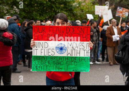 London, UK, 16 February, 2019. British indians protesting in London against Pakistan;s terrorist activities after an attack on Indian CRPF soldiers when their convoy was travelling in a bus in Pulwama region, Jammu & Kashmir, India. The terrorist attack was carried out by/as claimed by Jaish-e-Mohammad who is hiding in Pakistan. Harishkumar Shah/Alamy Live news - Stock Image