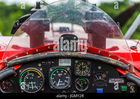 Cockpit of a Fokker DR-1 M german triplane replica from first World War. - Stock Image