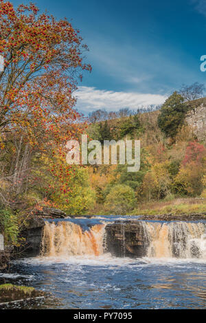 Yorkshire Dales National Park autumn landscape, vivid autumn colours at Wain Wath Falls, Swaledale, UK with copy space - Stock Image