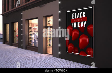 black friday poster on a wall near fashion store 3d rendering mockup - Stock Image
