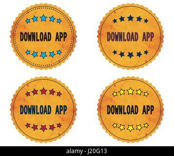 DOWNLOAD APP text, on round wavy border vintage stamp badge, in color set. - Stock Image