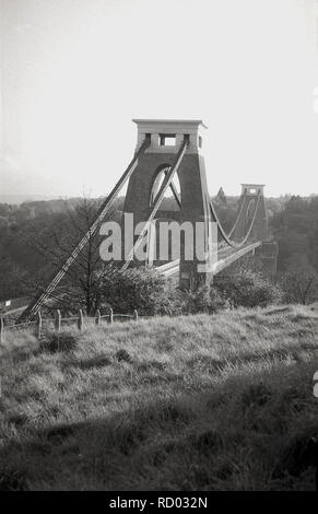 1950s, historical, view of the Clifton Suspension Bridge, Bristol, England, UK. Based on a design by the famous Victorian engineer Isambard Kingdom Brunel, the bridge which opened in 1864 crosses the Avon Gorge linking Bristol with North Somerset. - Stock Image
