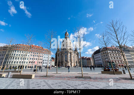 Dresden, Germany. 20th Mar, 2019. View to the Neumarkt with the Frauenkirche (M). Credit: Robert Michael/dpa-Zentralbild/ZB/dpa/Alamy Live News - Stock Image