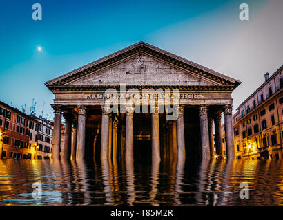 Flooded pantheon in Rome, Italy - digital manipulation climate change concept. - Stock Image