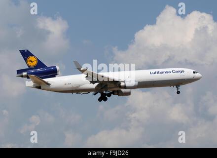 McDonnell Douglas MD-11F of Lufthansa Landing in Frankfurt,, Germany - Stock Image