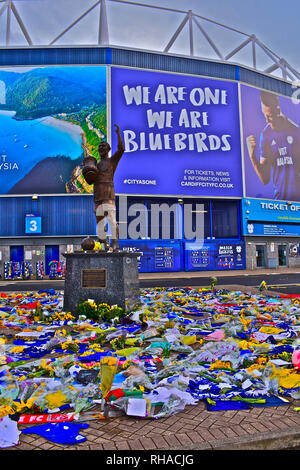 Recent tragic loss of new signing Emiliano Sala in plane crash from Nantes. Fan's salute player with floral tributes outside Cardiff City's Stadium. - Stock Image