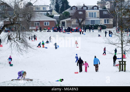 Friday 2nd March 2018 - UK Weather, Portishead, N. Somerset, UK - Storm Emma left deep snow drifts and icy conditions - Stock Image
