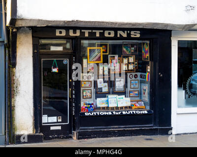 Duttons for Buttons a small historic haberdasher's shop in York City Centre England - Stock Image