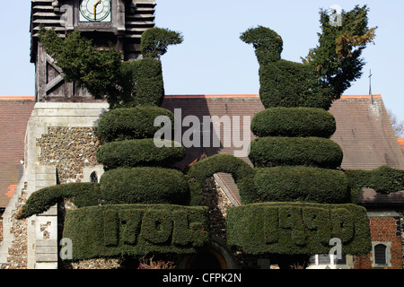 Topiary at Bedfont church  Hounslow - Stock Image