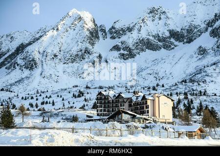 Passo del Tonale, Italy: February 10, 2019: Hotel Pian di Neve in the Adamello mountains, The Alps, Italy. - Stock Image