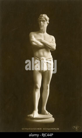 Sculpture of a Male Swedish Swimmer - Stock Image