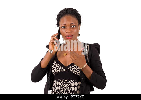 Portrait  of  young  businesswoman  pretending  astonished  on the  phone. - Stock Image
