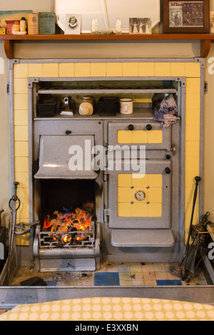 1960 Style Fireplace at Beamish Living Open Air Museum - Stock Image