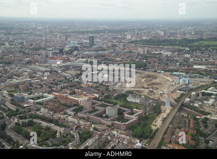 Aerial view of the development to the north of King's Cross Station in London with Thornhill Square in the foreground - Stock Image