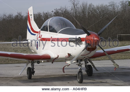 Pula Croatia Air show 2005 Pilatus PC9 trainer Croatian Air Force - Stock Image