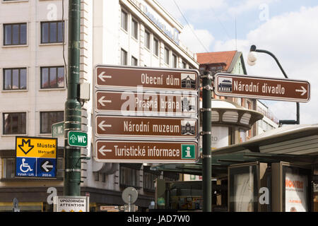 A signpost giving directions in Prague, including for tourist information - Stock Image