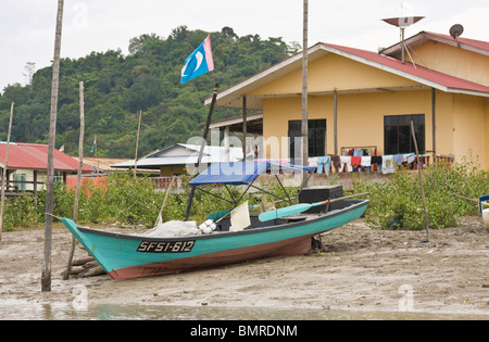 Boat at Bako village, Borneo - Stock Image