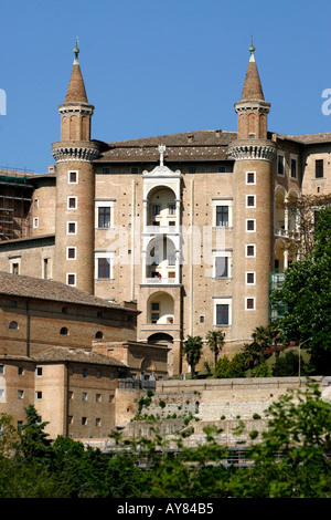 Twin towers at The much visited Ducal Palace in Urbino Le Marche The Marches Italy - Stock Image