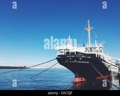 Hikawa Maru Japanese ocean liner launched in 1929 and now permanently berthed as a museum ship at Yamashita Park, - Stock Image