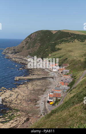 The Village of Crovie from the surrounding cliffs, Aberdeenshire, Scotland, UK. - Stock Image
