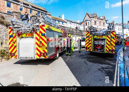 Fire Brigade emergency, Fire Brigade call out, fire, emergency, 999 call out, UK, fire engines, fire engine, fire engine UK, fireman, firemen, fire - Stock Image
