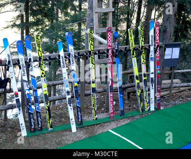 Collection of Skis for jumping on the top of Ski Jumping Hill, Ljubno ob Savinji. Slovenia. - Stock Image