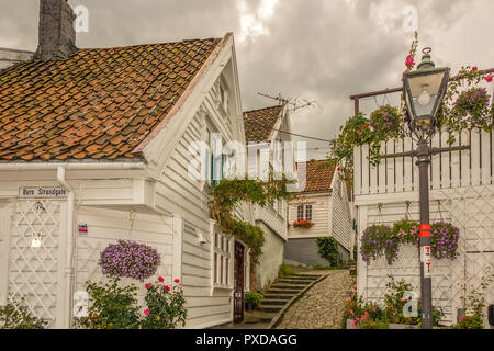 Old Town Wooden Houses Stavanger Norway - Stock Image