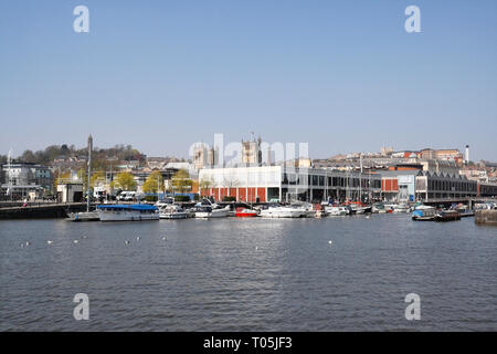 Floating harbour in Bristol showing the towns skyline - Stock Image