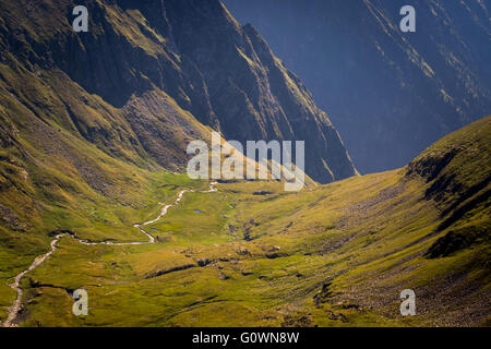 Beautiful green valley with a river in Carpathian Mountains, Romania - Stock Image