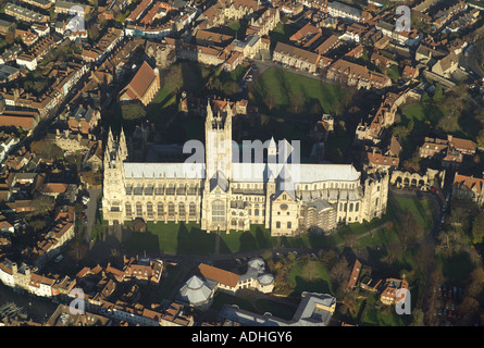 Aerial photograph of Canterbury Cathedral in Kent, taken on a winters day - Stock Image