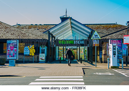 The Entrance to the Welcome Break Services at Abington in Lanarkshire, Scotland on a sunny day. - Stock Image