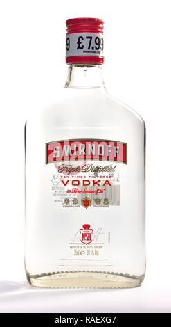 Pre priced bottle of Smirnoff Vodka 25cl - Stock Image