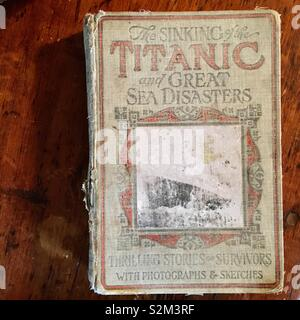Old book about The Titanic and sea disasters - Stock Image