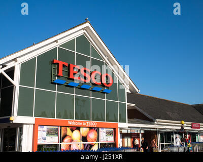 Tesco Superstore, Frontage and Entrance at Harford Bridge, in Norwich, Norfolk, England, UK - Stock Image