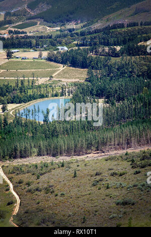 Elevated Views of Lake and Land - Franschhoek, South Africa - Stock Image