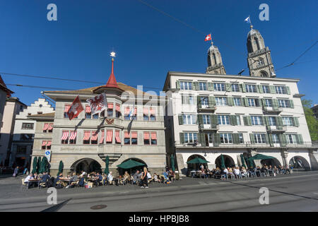Limmatquai with guild house , Zur Zimmerleuten,  Grossmunster, Cathedral,  old town of Zurich, Canton of Zurich, - Stock Image