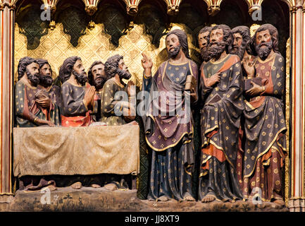 Appearance to the Apostols in Ascension Day from Cathedrale Notre Dame de Paris, France - Stock Image